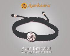 #Aum #Bracelet with single #diamond 12mm #silver bead on a size adjustable masculine nylon thread #Aumkaara #jewelslane