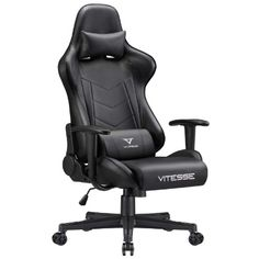 Vitesse Gaming Chair (Sillas Gaming) Video Gaming Chair Ergonomic Computer Desk Chair High Back Racing Style Comfortable Chair Swivel Executive Leather Chair with Lumbar Support and Headrest Ergonomic Computer Chair, Computer Desk Chair, Ergonomic Chair, Chaise Gaming, Gaming Chair, Leather Recliner Chair, Swivel Chair, Leather Chairs, Used Chairs