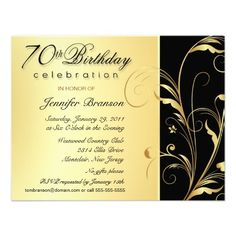 80th Surprise Birthday Invitation Wording | surprise 70th birthday party invitations gold and black with formal ...
