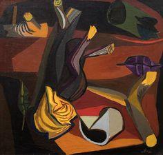 """""""Renato Guttuso Natura morta notturna / Still life Night, oil on canvas, 58 x 60 cm """""""