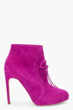 RUPERT SANDERSON fuchsia suede high heel ankle boots