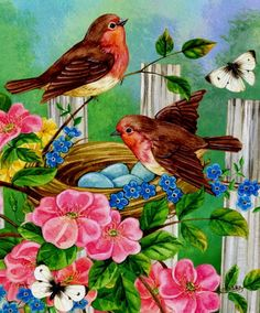 Bright and positive watercolors. The artist Jane Maday. Part Discussion on LiveInternet - Russian Service Online diary Bird Pictures, Pictures To Paint, Cartoon Birds, Cross Paintings, Vintage Birds, Wild Birds, Whimsical Art, Bird Art, Beautiful Paintings