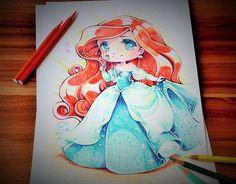 Chibi Princess Ariel by Lighane on DeviantArt Anime Chibi, Anime Yugioh, Anime Pokemon, Anime W, Disney Princess Drawings, Disney Drawings, Cute Drawings, Drawing Disney, Chibi Disney