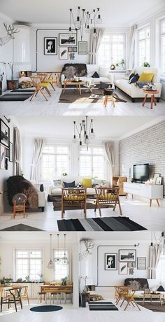 Other Scandinavian living room design ideas might include the balance between an inside and outdoor spaces. Let us show you some Scandinavian living room design ideas for you to get the gist of it and, who knows, find your new living room décor. Scandinavian Interior Design, Home Interior, Interior Design Living Room, Living Room Designs, Scandinavian Living, Design Room, Scandinavian Furniture, Scandinavian Christmas, Apartment Interior