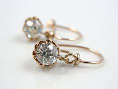 Old Mine Cut Diamond Earrings, Victorian Rose Gold ERDI140N
