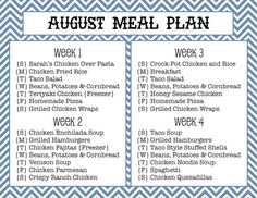 Sew Much Crafting: monthly meal plan (weekly meal plans calendar) Monthly Menu, Monthly Meal Planning, Family Meal Planning, Budget Meal Planning, Meal Planning Printable, Meal Planner, Monthly Plan, Frugal Meals, Budget Meals