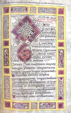 An ornate initial Q at the opening of Psalm 51, surrounded by a border of interlacing motifs. From f.36r of MS C.9. Irish Psalter, 10th-11th century.  © The Master and Fellows of St John's College Cambridge