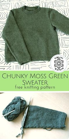Chunky Moss Green Sweater :: a free knitting pattern from talvi knits. – Awesome Knitting Ideas and Newest Knitting Models Easy Sweater Knitting Patterns, Jumper Patterns, Knitting Sweaters, Free Knitting Patterns For Women, Cowl Patterns, Knit Jumper Pattern, Knitted Dishcloth Patterns Free, Point Mousse, Knitting For Beginners