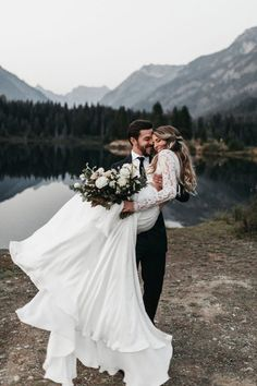 wedding pictures Long Sleeve Two Pieces Lace Round Neck Beach Wedding Dresses Chiffon Boho Bridal Gowns Wedding Picture Poses, Wedding Photography Poses, Wedding Poses, Wedding Photoshoot, Wedding Couples, Mehendi Photography, Photography Tips, Couple Photography, Romantic Wedding Photos