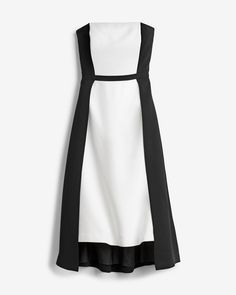 Strapless Colorblock Fit-and-Flare Dress