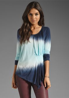 YOUNG, FABULOUS & BROKE Oksana Top in Navy Double Ombre at Revolve Clothing - $167