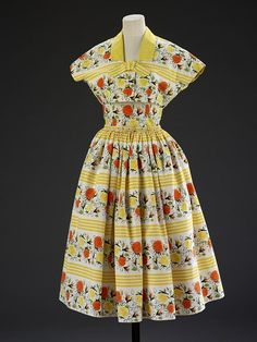 Horrockses printed cotton dresses were THE must-have of British fashion in the 1950s. The rich had dozens (the Royal Family were noted fans) while working class women would save up for ages to purchase one for a special occasion (most notably as a going away dresses for honeymoons). This one dates to 1955.