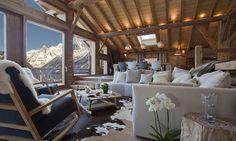 Location vacances chalet Les Houches: Salle de séjour & vue sur Aiguille Verte /Lounge area, view over Aiguille Verte