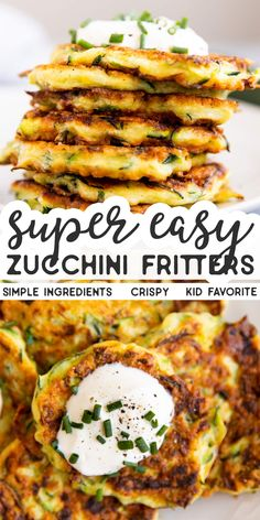 These Easy Zucchini Fritters are a great way to use up all that summer zucchini! It's such an easy recipe that makes for the perfect side to grilled meat, or a simple finger food lunch for the kids! Cooking Recipes, Healthy Recipes, Simple Zucchini Recipes, Vegetarian Zucchini Recipes, Shredded Zucchini Recipes, Paleo Zucchini Fritters, Vegetarian Finger Food, Grilled Zucchini Recipes, Zucchini Pancakes
