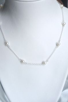 Pearl necklace with sterling silver chain Freshwater pearl by alya