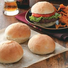Great Hamburger Buns Recipe.  And fast!  I used 1/2 whole wheat flour and added 1 Tablespoon vital wheat gluten.  I also let them rise on the pan for 30 minutes before baking. Mmm.