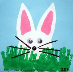 Bunny craft, super cute!  Love the hand print grass