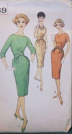 Simplicity 3069; ©1959; Misses' One-Piece Dress: Dress has a bateau neckline, a slim skirt with soft pleats at front waistline and back kick pleat. V. 1 features 3/4 length set in sleeves. Self fabric shaped belts cross in front and fasten in back. V. 2 features short set in sleeves, contrasting binding and bow. V. 3 sleeveless dress has purchased belt.