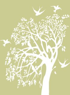 Tree silhouette stencil paper cutting 15 ideas for 2019 Flying Bird Silhouette, Tree Silhouette, Stencil Patterns, Stencil Designs, Stencils, Paper Cutting Templates, Cool Tree Houses, Glass Engraving, Tree Artwork