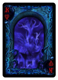 Bicycle R'lyeh Rising playing cards. King of Hearts.