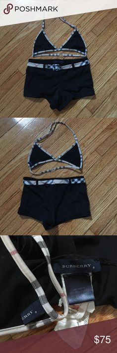 Girls Burberry triangle top and boy short swimsuit Girls size 8y black Burberry triangle top and boy short swimsuit perfect condition worn 1 time gently washed and hung to dry Burberry Swim Bikinis