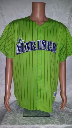 Vintage 1990s Seattle Mariners Majestic Stitched LIME Jersey Pin Stripes RARE 2X #Majestic #SeattleMariners