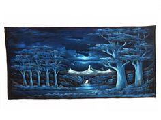 LARGE Velvet Painting Vintage Signed Landscape by JacobandCharlies