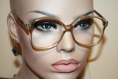 NOW AT MY ETSY SHOP : True Vintage 1980s Unworn GLAMOUR OPTICS USA Honey, Clear and Copper Oversized Plastic Glasses Frames