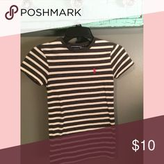 Gray & white stripe Ralph Lauren Polo//size XS Gray & white stripe Polo//hot pink polo horse//NWOT//XS Tops Tees - Short Sleeve