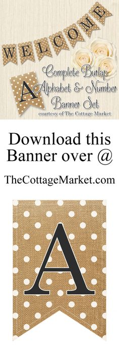 Burlap banner letters for download