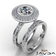 2 Row Halo Round Diamond Bridal Set Engagement Ring GIA F SI1 Platinum 2.28ct