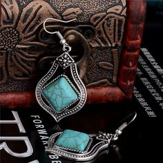 "EXQUISITE SILVER & TURQUOISE DROP DANGLE EARRINGS 1""L NEW SHIPS FREE #Unbranded #DropDangle"