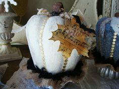 White pumpkin Halloween table decor centerpiece by PaperAndMache, $25.00