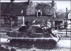 King Tiger of the Heavy Panzer Battalion withdraws through Beauvais, Northern France (August, Tiger Ii, German Soldiers Ww2, German Army, Army Vehicles, Armored Vehicles, Luftwaffe, Tank Armor, Military Armor, Tiger Tank