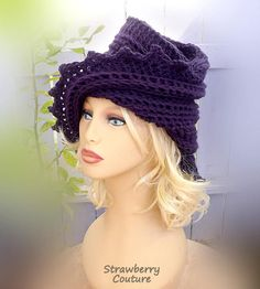 The LAUREN Hand Crochet Beanie Hat Purple Hat Design for Stylish Women Who Want to Look Elegant Hat and Casual Hat by strawberrycouture by #strawberrycouture on #Etsy