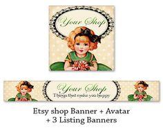Vintage Etsy shop banner & avatar Digital files Etsy shop set Retro banner Printable download made by FrezeArt