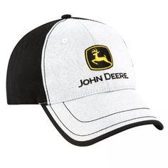 John Deere Ultrasuede Black and White Cap  bd62014fd129