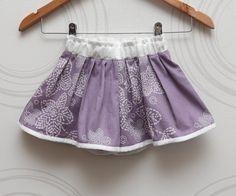 Lilac girls split skirt with white flowers from cotton sateen by ZanziBach