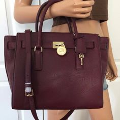 Michael Kors Hamilton Traveler Large Leather Shoulder Handbag Bag Purse Merlot #MichaelKors #TotesShoppers