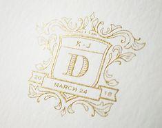 Kleinfeld Paper || Wedding Heraldry || gold engraved crest