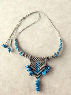 Macrame Necklace  gray and blue with Turquoise by SusanaVijaya