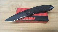 Kershaw Blur Assisted Opening Knife Black Tanto Part Serrated Folding 1670TBST #Kershaw