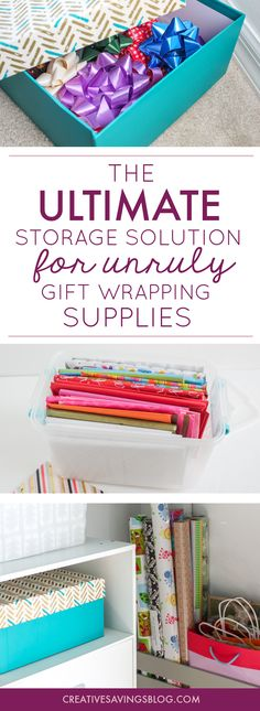 These gift wrapping storage ideas are exactly what I've been looking for!!! I love how she cut a crate in half for the shelves, making it the perfect solution for small spaces. Organize gift supplies is definitely going on my to-do list for next month. I can't wait to have all my gift bags, wrapping paper, and bows neatly organized! via @CreativeSavings