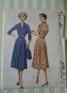 UNCUT FF McCalls 4335- gorgeous 50s day dress with unique twist  bodice