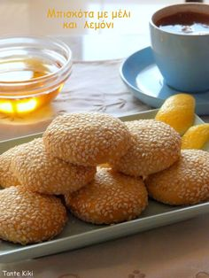 Lemon Recipes, Sweets Recipes, Greek Recipes, Cookie Recipes, Greek Sweets, Greek Desserts, Biscotti Cookies, Cupcake Cookies, Crepes