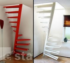 Space saving spiral staircase - stainless steel hand railings for Space Saving Staircase, Small Staircase, Tiny House Stairs, Attic Staircase, Loft Stairs, Basement Stairs, Spiral Staircase, Staircase Design, Standard Staircase