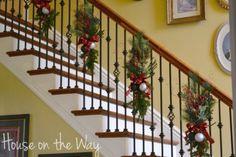 Kohls Christmas Decor Clearance :) Christmas Staircase Decor, Christmas Stairs, Winter Christmas, Christmas Home, Christmas Wreaths, Christmas Crafts, Christmas Mantels, Decorating Staircase, Staircase Decoration