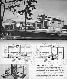 Plan From Hayden Homes little encyclopedia of Home designs, 998 sq. on living and bedroom levels. What a lovely plan.small but impressive looking. Modern Floor Plans, Modern House Plans, House Floor Plans, Hayden Homes, Split Level Floor Plans, House Plans With Pictures, Vintage House Plans, Vintage Homes, Mcm House