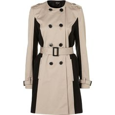 Collarless Panel Trench (240 NZD) ❤ liked on Polyvore featuring outerwear, coats, jackets, trench, coats & jackets, topshop, double breasted trench coat, pink coat, pink double breasted coat and cotton trench coat