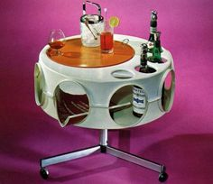 space age vintage home bar table with #WMF #ice bucket